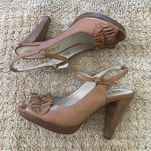 "Report ""Marlowe""tan studded heel peep toes shoes."